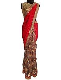 Swara Fashion Women's 60gm Georgette Multi Work Saree(SFA-3238_Red)