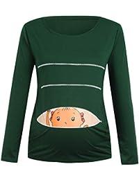 Cinnamou Ropa Premama de Mujer Embarazada Verano Camisetas Embarazadas  Divertidas Patrón de Dibujos Animados Blusa de 4a1f662ce1e