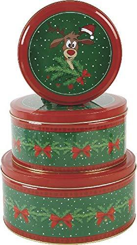 Seasons Greetings 3er Set Metall Keksdose Plätzchendose Weihnachten Rentier grün rot Sortiert H7-9cm