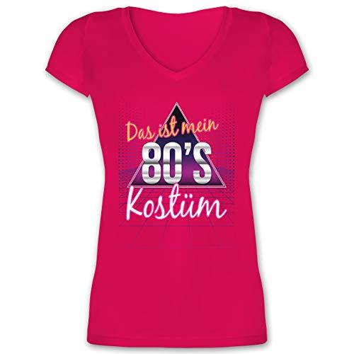 Karneval & Fasching - Das ist Mein 80er Jahre Kostüm - M - Fuchsia - XO1525 - Damen T-Shirt mit V-Ausschnitt