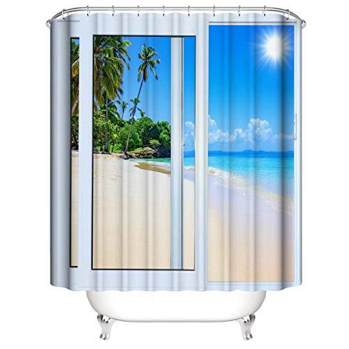 Xmiral Duschvorhänge Wasserdicht 3D Gedruckte Polyester Badezimmer Gardinemit 12 Haken 180x180cm(F)