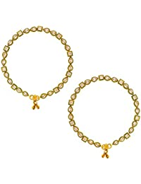 Anuradha Art Golden Tone Studded With Kundan Very Classy Look This Beautiful Traditional Payal/Anklet For Women...