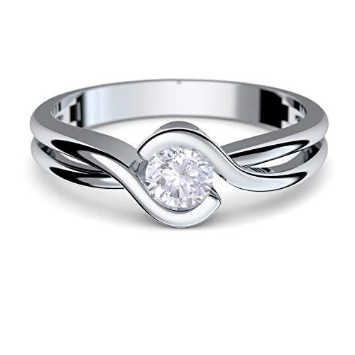 Gold Ring Verlobungsringe Weißgold 333 echt Gold von AMOONIC mit Zirkonia Stein Luxusetui Goldring Weißgold Ring Zirkonia wie Diamant Ehering Gold Trauring Damenschmuck FF388WG333ZIFA54