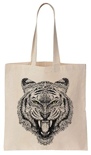 Furious Tiger With Yellowish Eyes Cotton Canvas Tote Bag Baumwollsegeltuch-Einkaufstasche (Tote Canvas Bag Tiger)