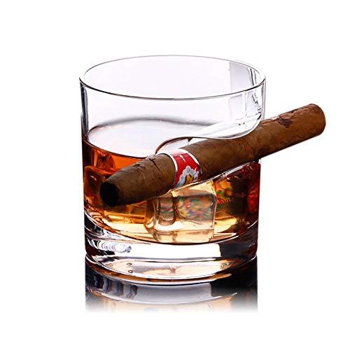 KOBWA Whiskyglas mit Zigarrenhalter, 320 ml Kristall Whiskey Gläser, Handarbeit Whiskeyglas mit Dicker Runder Boden Geeignet für Whiskey, Scotch, Bier, Wein, Spirituosen