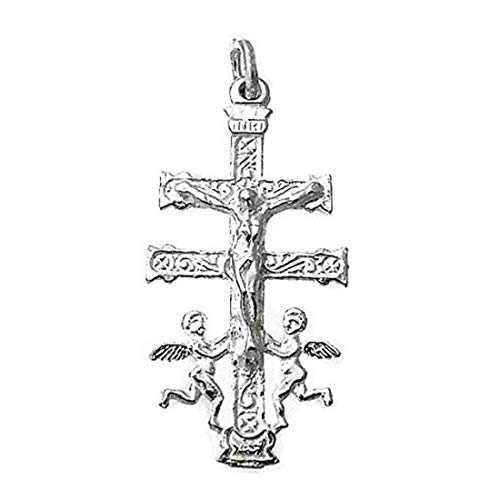 Sebaoth Kreuz Caravan Cristo Realce Angeles - 4 cm Relief - Sterlingsilber 925m - gewölbt und hergestellt in Caravan