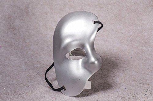 (PromMask Masken Gesichtsmaske Gesichtsschutz Domino falsche Front Venedig Make-up Tanz Party Männer Maske Goldener Einäugiger Halb Gesicht Maske Plastik COS Silber)