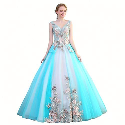 QAQBDBCKL Licht Himmel Blau Stickerei Maskerade Cos Lange Belle Ball Mittelalterlichen Kleid Renaissance-Kleid-Prinzessin Kostüm Viktorianischen/Marie Cos