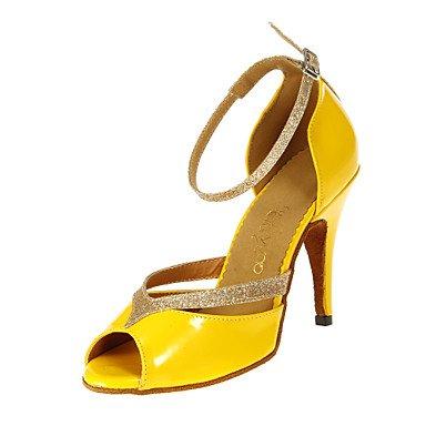 Silence @ pour femme Chaussures de danse latine/salle de bal en similicuir Talon Jaune jaune