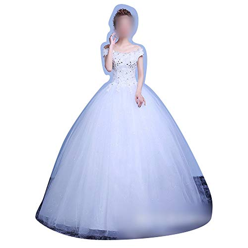 Rocke Mieder Klassische Tüll Brautkleid ärmellose Spitze Schatz Perlen Korsett (Size : XXL)