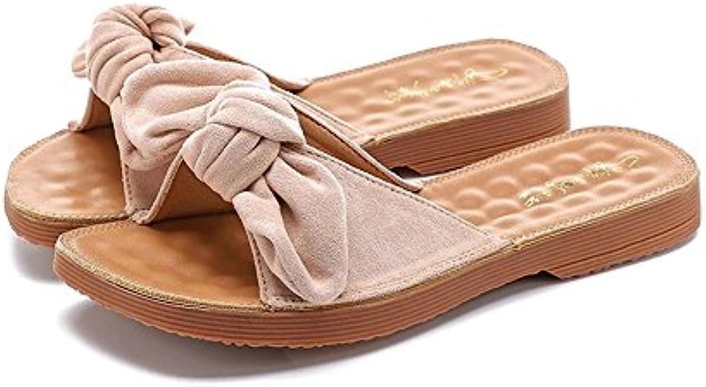 Zapatillas para Mujer 2018 Summer New Bow Sandalias y Zapatillas Mujeres Korean Wild Chanclas Planas para Mujer