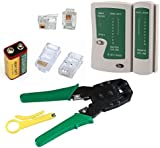 Network Lan Kit RJ11 RJ12 CAT5 RJ45 Cable Tester+Crimping Crimper+Connector Tool