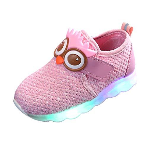 BoyYang Kinder Schuhe Sportschuhe Karikatur LED Leuchtende Mesh Atmungsaktiv Laufschuhe Outdoor Sneaker Turnschuhe Klettverschluss Wanderschuhe Hallenschuhe für Baby Jungen Mädchen Kinder (19,Rosa)