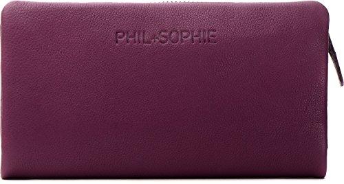 PHIL+SOPHIE, Cntmp, Damen Geldbörsen, Geldbörsen, Börsen, Langbörsen, Portemonnaies, Brieftaschen, 18,5 x 9,5 x 4 cm (B x H x T), Farbe:Pflaume (Berry)