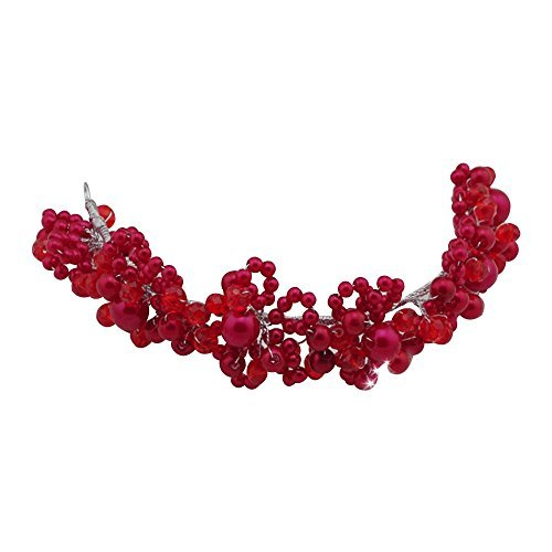 Contever Wedding Party Bridal Hair Jewellery Tiara Crystal Pearls Headdress Accessories -- Red by Contever - Clutch Red Crystal