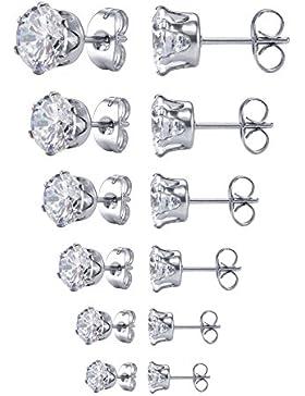 Jstyle Edelstahl 6 Paare Gestüt Ohrstecker Damen Herren CZ Zirkonia Silberfarbe Elegant Set Durchmesser 3- 8mm