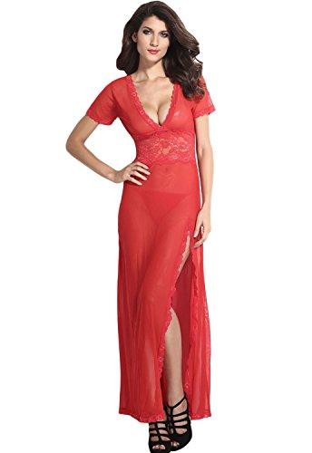 Amo & Co Damen Sexy Frauen schiere lange Spitze Robe  Übergröße  Dessous Kleid Floral V-Ausschnitt Mesh Unterwäsche Nachtwäsche (xxl, Rot) (Lange Robe Ärmel Schiere)