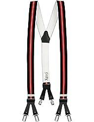 Xeira® Bretelles de haute qualité avec 6 clips - Stripes Design- XXXL 140cm (Bande longueur) - Motif de Cuir - Fabriqué en Allemagne