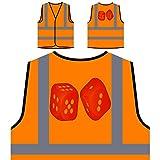 Gioco Di Casinò Rosso Dadi Personalizzato Hi Visibilità Giacca Gilet Arancione di sicurezza p124vo