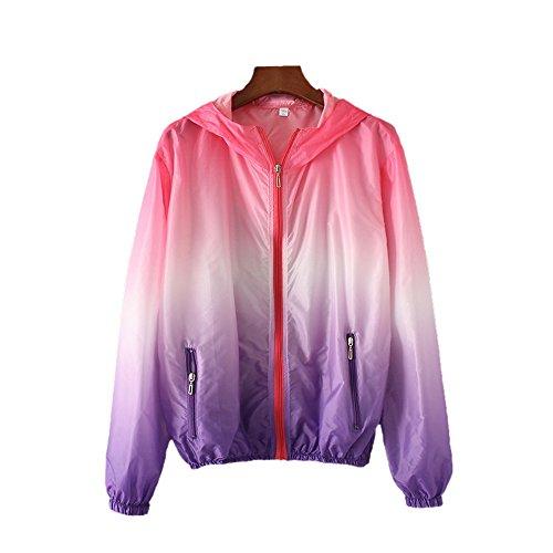 Vertvie Unisex Femme Veste de Sport à Capuche Couleur Gradient Ultra-mince Anti-UV Protection Solaire Softshell Veste Coupe-vent Séchage Rapide Grande Taille Rouge