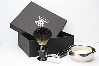 Men Shaving Kit with Double Edge Safety Razor, Badger Hair Shaving Brush, Bowl and Soap Perfect Set