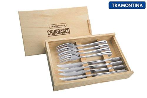 Tramontina Churrasco Premium 8 pièces en acier inoxydable couteau à steak Ensemble de couverts, Opéra, motif fabriqué au Brésil