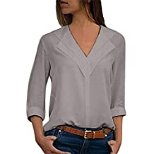 Blusa con Manga de chifón para Mujer,Camiseta sólida de Moda Office Ladies