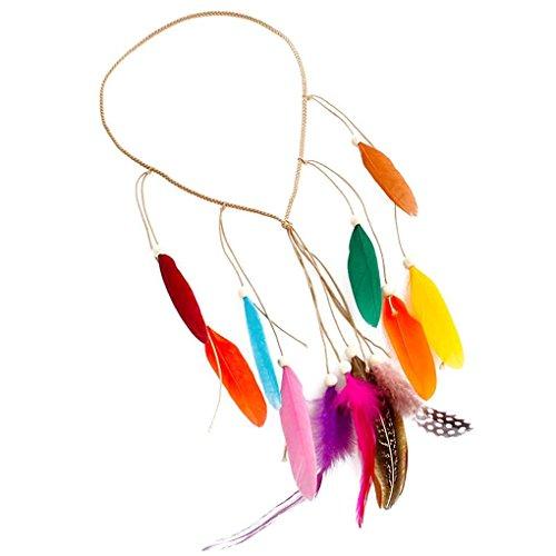 b43c3910d1c56 Pandiki Mujeres tribal del indio de estilo de la pluma de Bohemia headwear  chica.