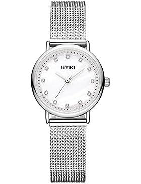Alienwork Quarz Armbanduhr elegant Quarzuhr Uhr modisch Perlmutt Metall weiss silber YH.D5001S-01