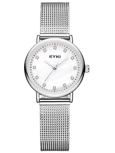 Alienwork Armbanduhr Damen Uhr Edelstahl Milanaise-Armband Mesh-Metallband Silber Quarz Damenuhr Mädchen Weiss Strass elegant