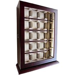 Uhrenbox Woolux für 20 Uhren Holz Sichtfenster Echtglas für Wand Cherry
