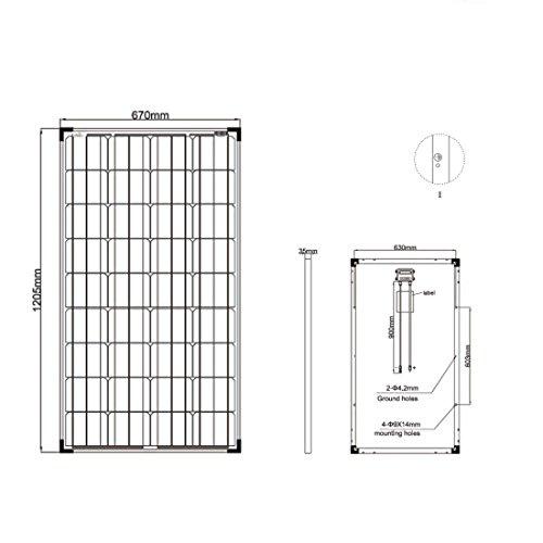 Offgridtec Solarmodul Zellen Monokristallin Solarpanel / zelle, 12 V, 130 W, 001250 - 3