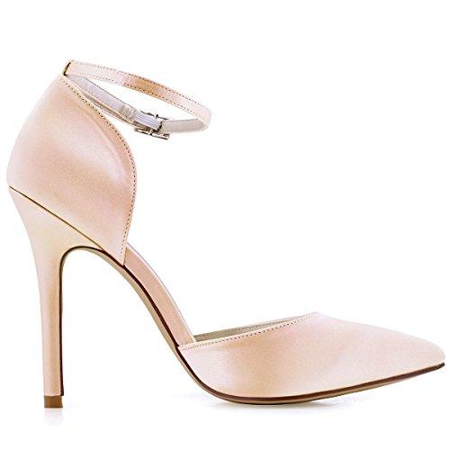 ElegantPark HC1602 Damen Spitze Zehen D'orsay Ankle Straps High Heels Pumps  Satin Abendschuhe Brautschuhe ...