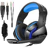 Phoinkas Gaming Headset für Xbox One,PS4,Nintendo Switch,PC,Smartphone,Über-Ohr Stereo Kopfhörer mit Mikrofon,LED Licht und Lautstärkeregler mit 3,5mm Y Audio-Splitter,Lärmminderung Blau