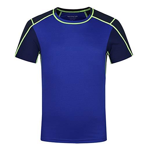 Männer Gym Top Herren Dry Fit Mesh Athletic Shirts UV Sonnenschutz Sport T ShirtsFür Radfahren, Training, Training, Fitness 4 Farben zum Ausführen von Gymnastik-Training ( Color : Blue , Size : XL )