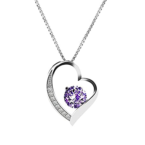 Yidarton 925 Sterling Silver Cubic Zirconia Love Heart Pendant Necklace With Gift Box(purple)