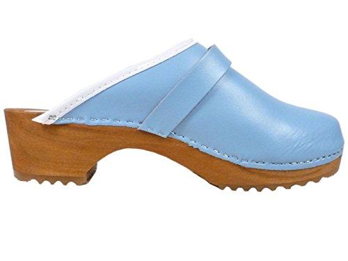 Buxa Bois et Cuir Sabots Mixte Adulte, Plain Conception Bleu Clair