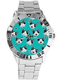 05d9894598fc Reloj de Pulsera analógico con diseño de Gato Blanco y Negro