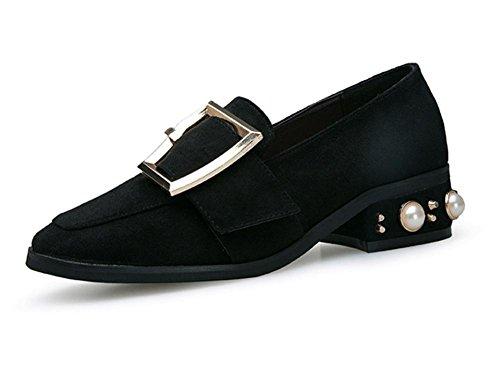 Nuova testa quadrata con un singolo scarpe metallo femminile fibbia di perle tacchi bassi Black