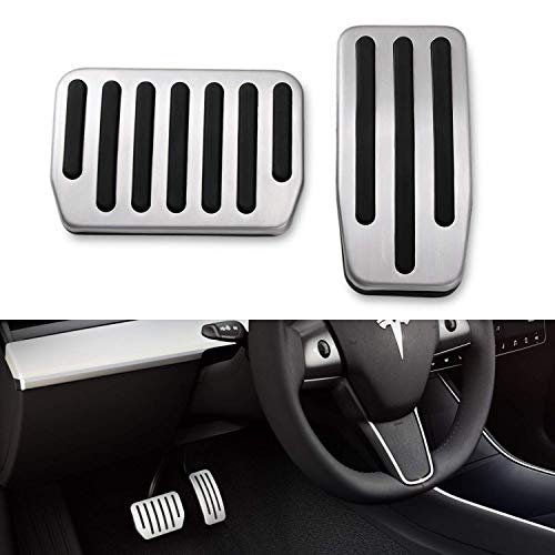 EEIEER Auto Pedale Set 2PCS Anti-Rutsch Aluminium Fuß Pedal Pads Accelerator Bremse Schutzpolster with Rubber Pull Tabs für Car Model 3 2017 2018 2019