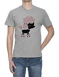 Perro Del Caniche V Cuello Camiseta Para Hombre Gris Todos Los Tamaños | Men's Grey V Neck T-Shirt Top All Sizes