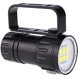 Fdit Lampe de Poche LED Plongée Photographie Remplir Lampe sous-Marine 80m Tir Lampe Torche avec Support Support Rouge Bleu Lumière 28800 Lumens