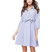 Vestido de solapa vestido de encaje sencillo - azul cielo