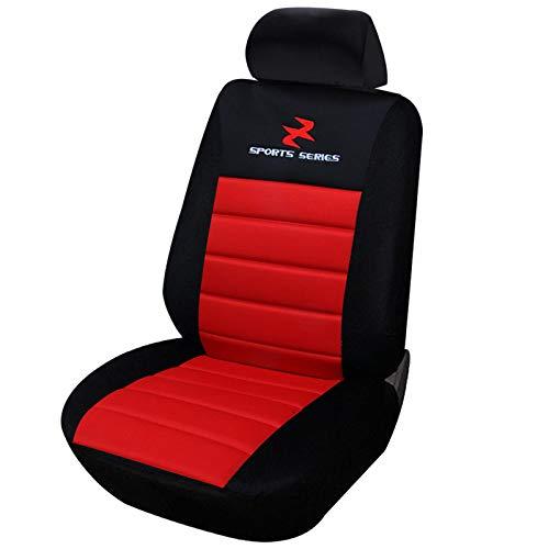 WOLTU AS7257 Coprisedile Anteriore Singolo Universale per Auto Seat Cover Protezione per Sedile di Poliestere Nero/Rosso