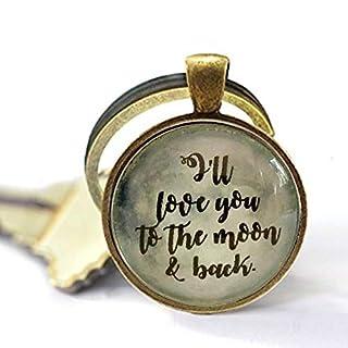 aaaAA Schlüsselanhänger mit Zitat I'm Love You to The Moon & Back, Glas, Geschenk von Mutter Kind