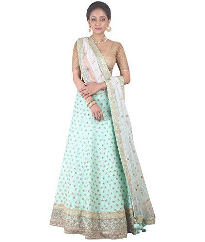Indian Ethnicwear Bollywood Pakistani Wedding Aqua A-Line Lehenga Semi-stitched-DIVISL034