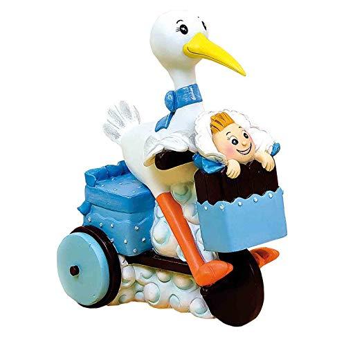 Estupenda y original figura para tarta de bautizo realizada en resina de una cigüeña montada en triciclo con bebé. Sorprende a tus invitados de bautizo con una tarta muy original gracias a la figura de la tarta de bautizo.Un diseño muy divertido con ...