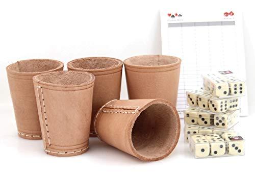 Ludomax 325132 Bundle 5 Würfelbecher mit jeweils 6 Würfeln, Echt Leder, ca. 9 cm (Leder-würfel-box)