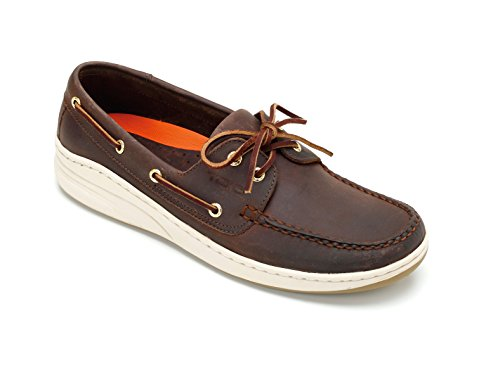 TOIO Mens MARINE SHOE MOCASSIN Handcrafted 100% leather Brown rubber sole with anti-slip tread 41 Leather boat show with laces and eyelets...