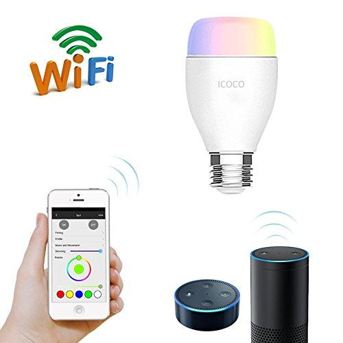 E27 LED Dimmbar Lampe mit Fernbedienung (Funktioniert mit Amazon Alexa, Echo Alexa),ICOCO RGB Wireless Timer-Schalter Mehrfarbig Glühlampe, IOS / Andriod App Control [Energieklasse A+]